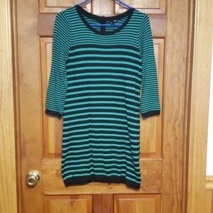 H&M green and black striped sweater dress